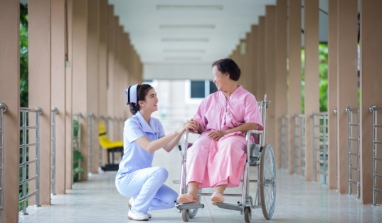 nurse and senior man on a wheelchair